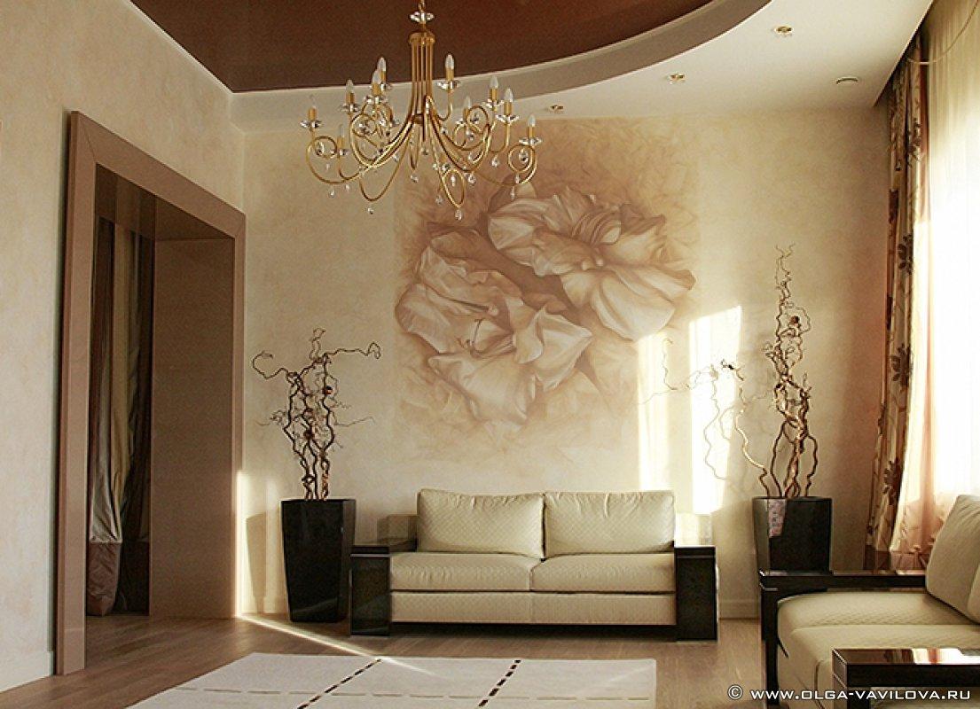 Интерьер стен в гостиной фото